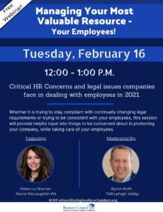 A Greater Lehigh Valley Chamber of Commerce Webinar: Managing Your Most Valuable Resource - Your Employees